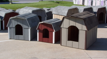 green tree structures doghouses
